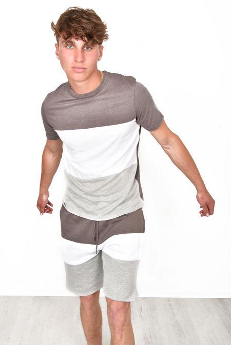 Dark Grey Colour Block T-Shirt & Short Set