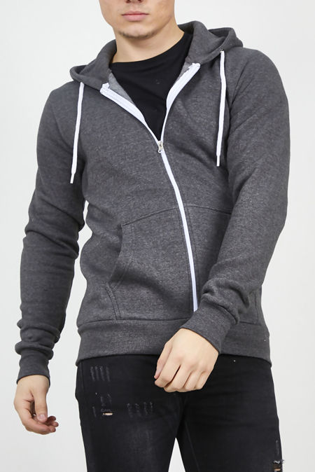 Charcoal Plain American Fleece Zip Up Hoody Jacket-Copy