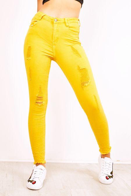 Distressed Frayed Hem Yellow Skinny Jeans