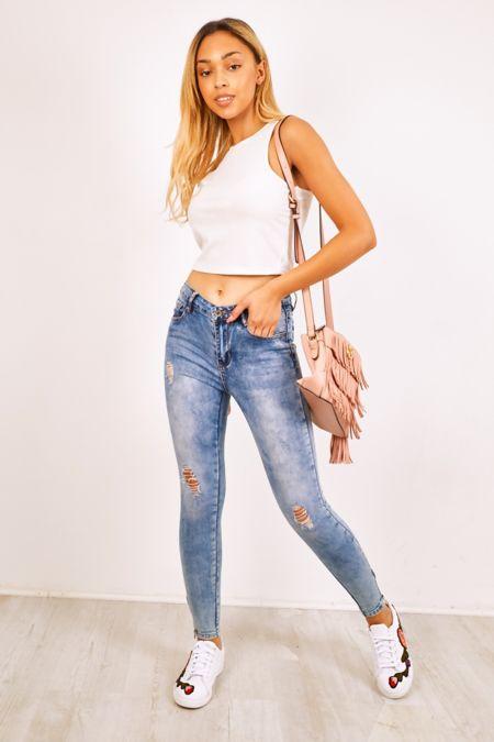 Distressed Stonewashed Denim Zipped Hem Skinny Jeans