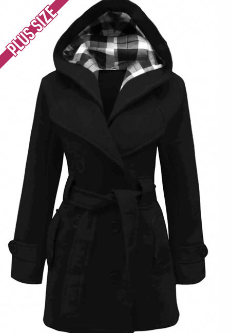 Double Plus Size Black Double Breast Coat
