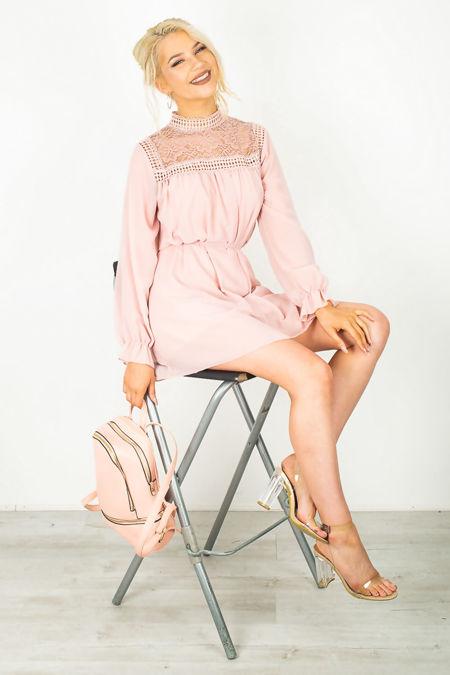 Dusty Pink Bishop Sleeve Tie Dress