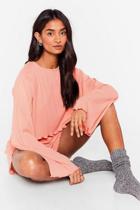 Dusty Pink Ribbed Ruffle Pyjama Shorts Set