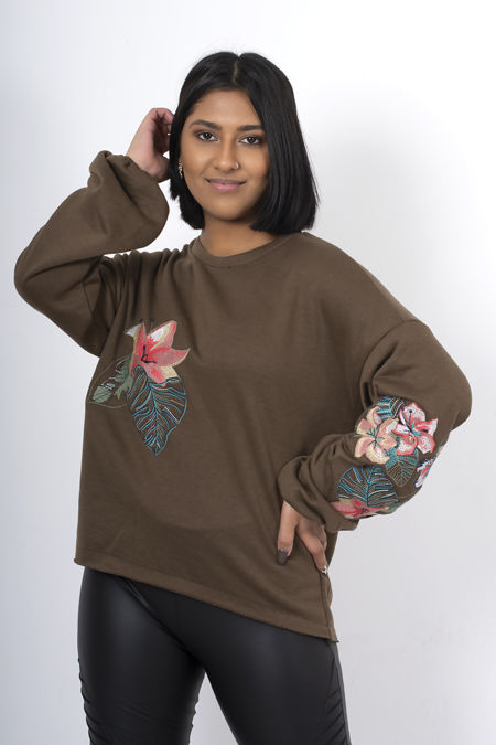 Green Oversized Embroidered Puff Sleeve Sweatshirt