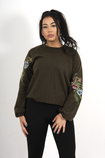 Black Oversized Floral Embroidered Sweatshirt