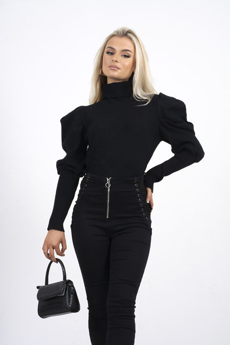 Black Puff Sleeve Roll Neck Jumper