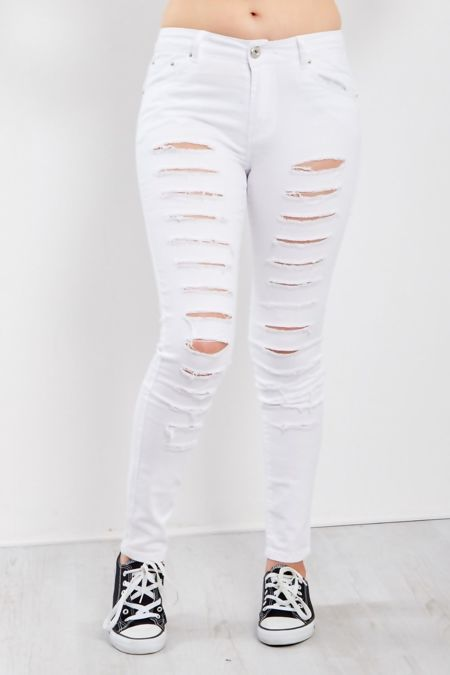 White Ripped Super Skinny Jeans
