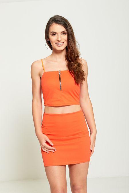 Mustard Zip Up Crop Top Skirt & Co-Ord Set