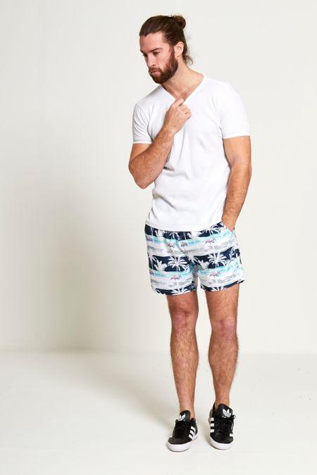 Flamingo Print Hawaiian Swim Shorts
