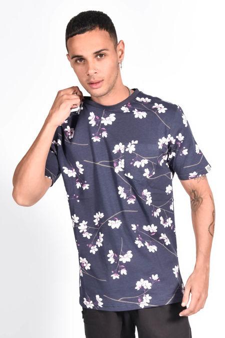 Navy Floral Printed Pocket T-Shirt