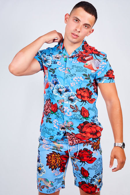 Flower Print Shirt and Swim Short Set