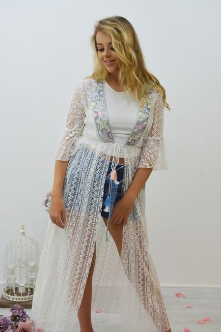 Frill Sleeve Lace Maxi Kimono