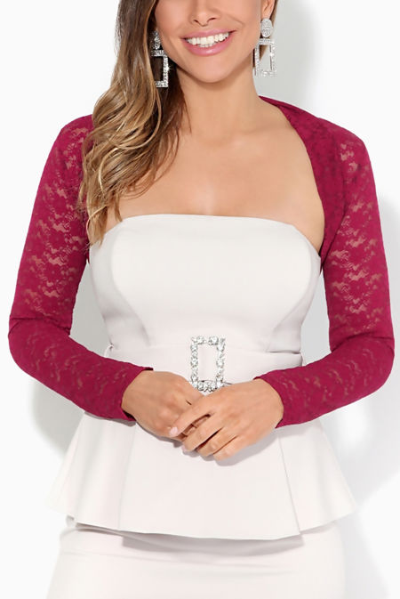 Fuchsia Cropped Lace Bolero Shrug