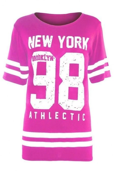 Plus Size Fuchsia New York 98 Oversize T-Shirt