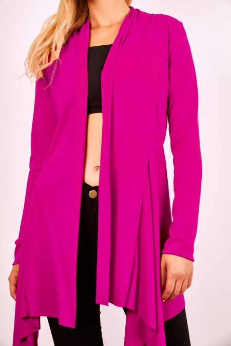Fuchsia Rib Waterfall Cardigan