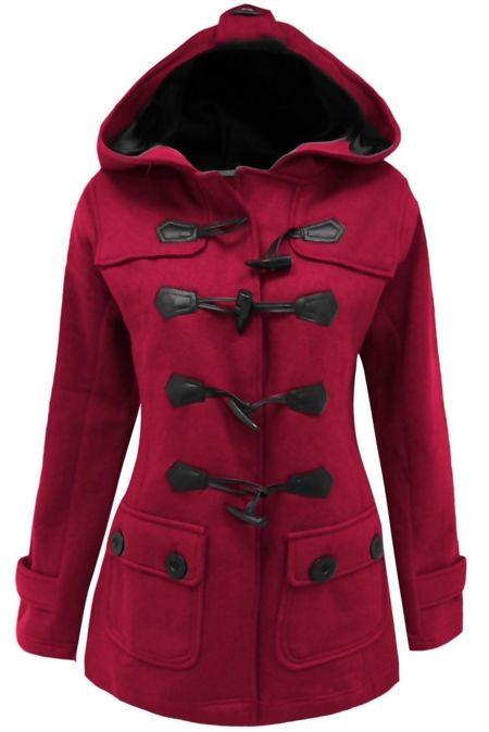 Plus Size Fuchsia Fleece Hooded Toggle Jacket