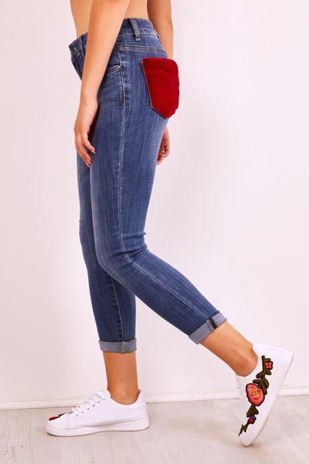 Faux Fur Pocket Skinny Jeans