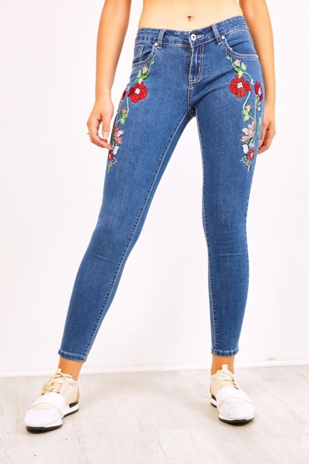 Floral Embroidery Mid Rise Skinny Jeans