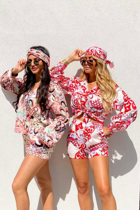 Floral Printed Blouse And Short Set With Head Scarf