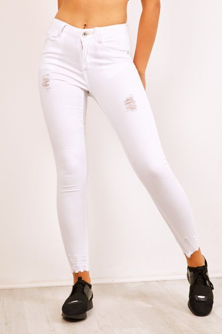 Frayed Hem Distressed Denim White Jeans