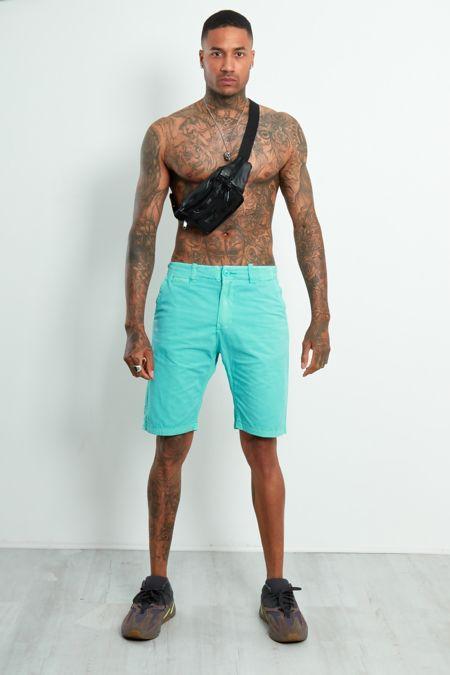 Turquoise Twill Chino Shorts