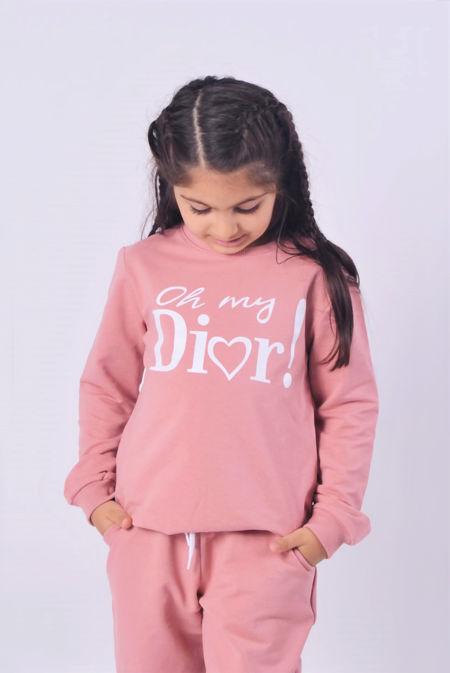 Girls Khaki Oh My Dior Logo Loungewear Set