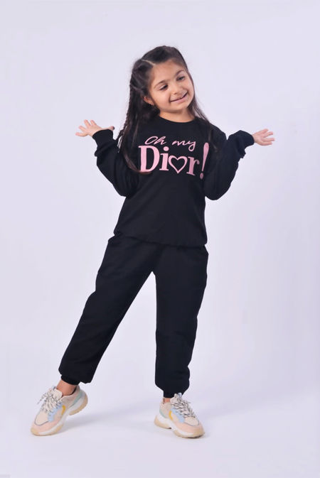 Girls Black Oh My Dior Logo Loungewear Set