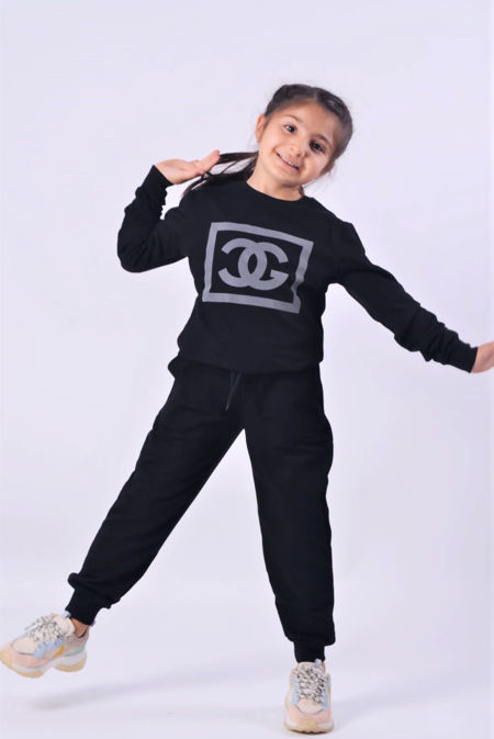 Girls Black Reflective CG Logo Loungewear Set