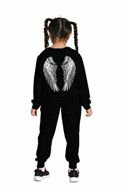 Girls Black Sequin Angel Wings Back Loungewear