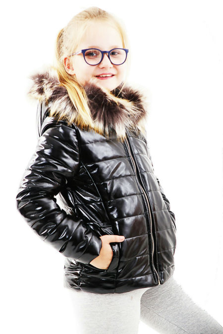 Girls Black With Brown Fur Shiny Hooded Jacket Pre-Order
