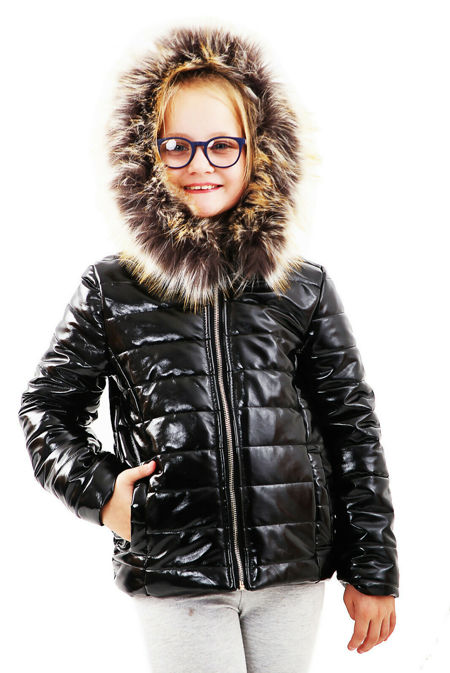 Girls Black With Brown Fur Shiny Hooded Jacket