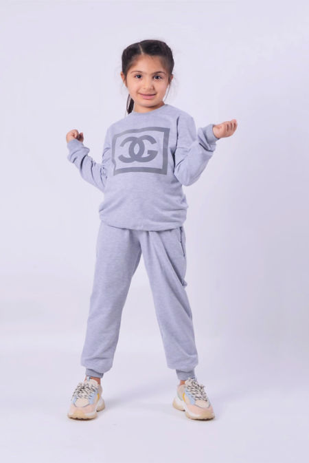 Girls Grey Reflective CG Logo Loungewear Set