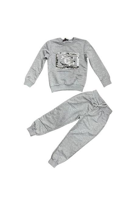 Girls Grey Sequin CG Logo Loungewear Set