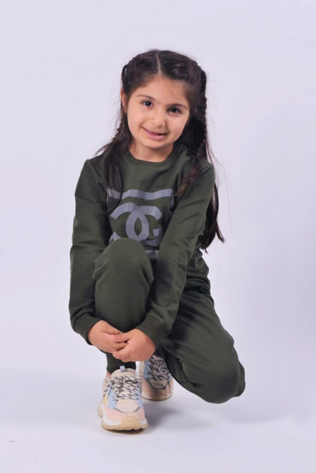 Girls Khaki Reflective CG Logo Loungewear Set