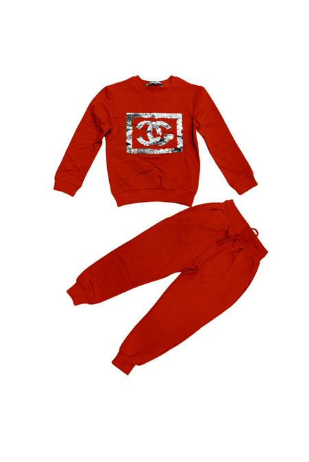 Girls Red Sequin CG Logo Loungewear Set