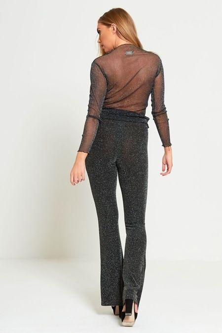 Glitter Black Lace Mesh Top