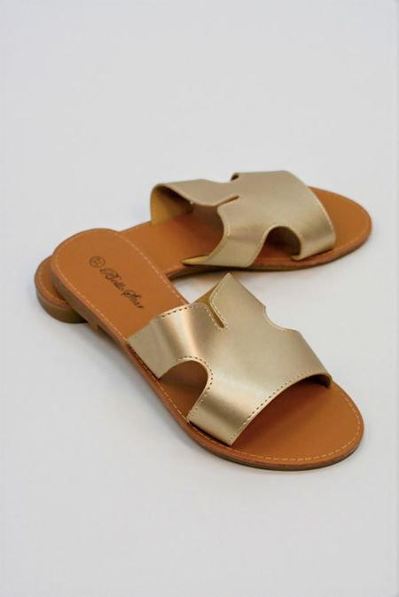 Gold Leather Flat Slip On Slider