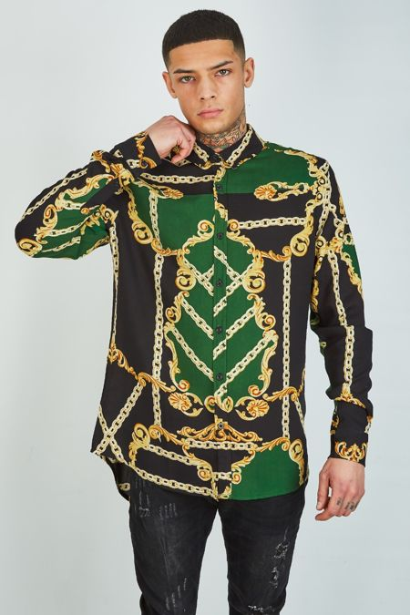 Green Chain And Baroque Print Shirt