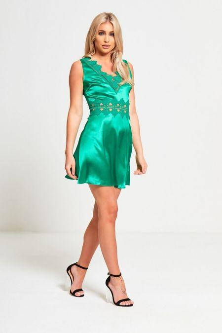 Green Crochet Lace Detailed Mini Dress