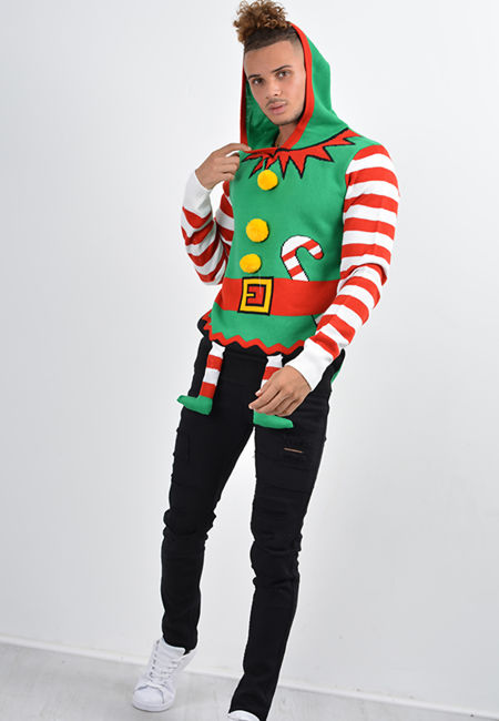 Green Elf And Santa Suit Christmas Jumper