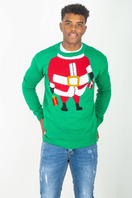 Green Elf Santa Christmas Jumper