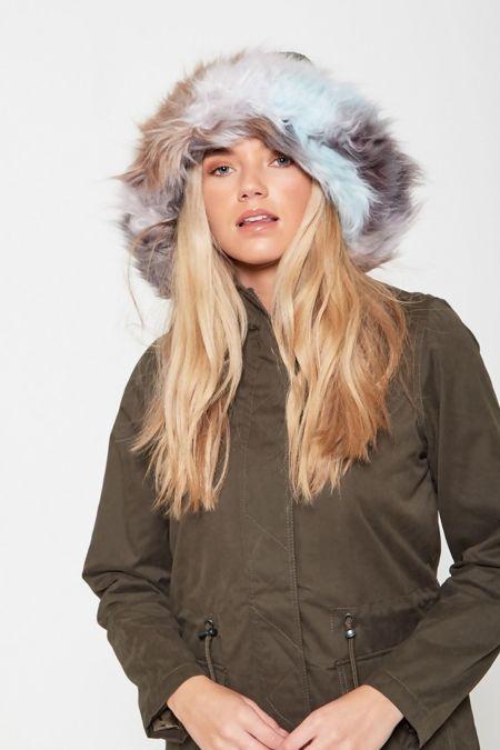 Green Multi Fur Lined Hood Parka