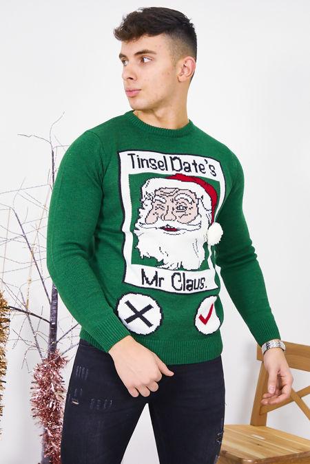 Green Tinsel Dates Christmas Jumper