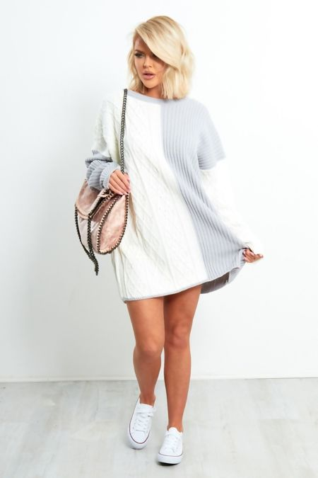 Grey and White Oversize Jumper Dress