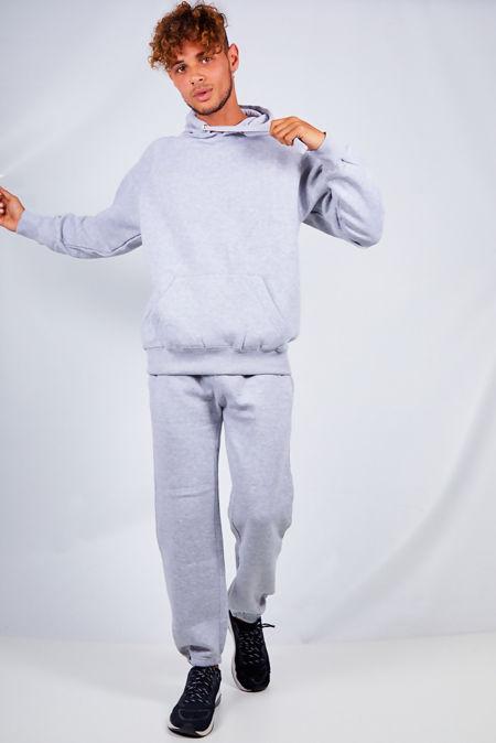 Grey Basic Pullover Hood Tracksuit