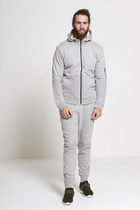 Grey Biker Ribbed Detail Hooded Skinny Tracksuit
