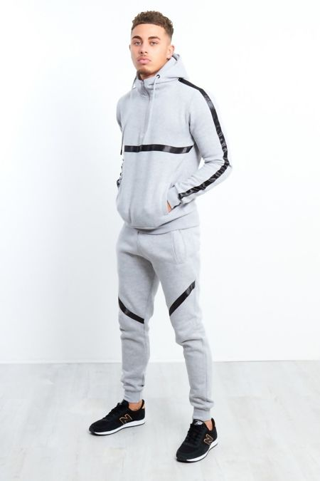 Grey Black Stripe Pull Through Hooded Tracksuit