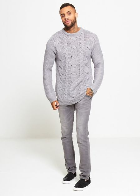 Grey Braid Knit Long Line Jumper