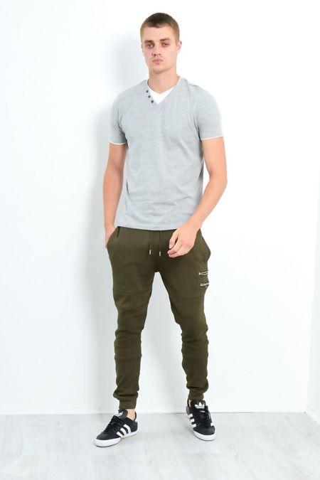 Grey Button Detail V-Neck T-Shirt