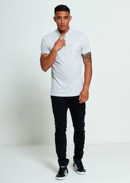 Grey Button Up Polo T-Shirt